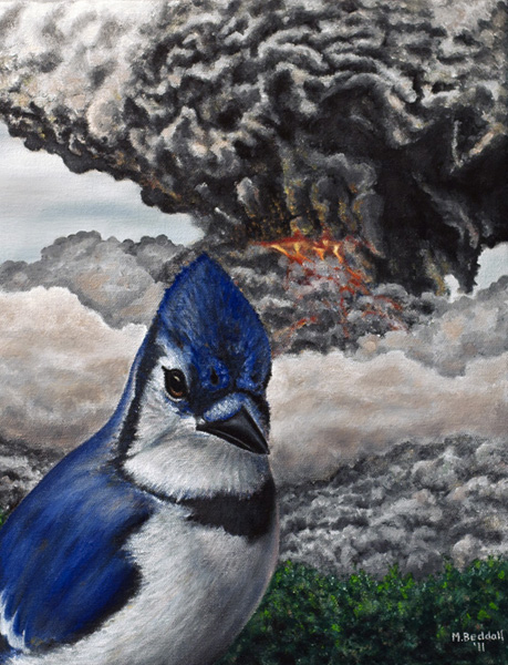 blue jay volcano painting