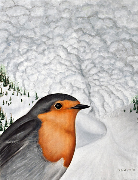 european robin avalanche painting