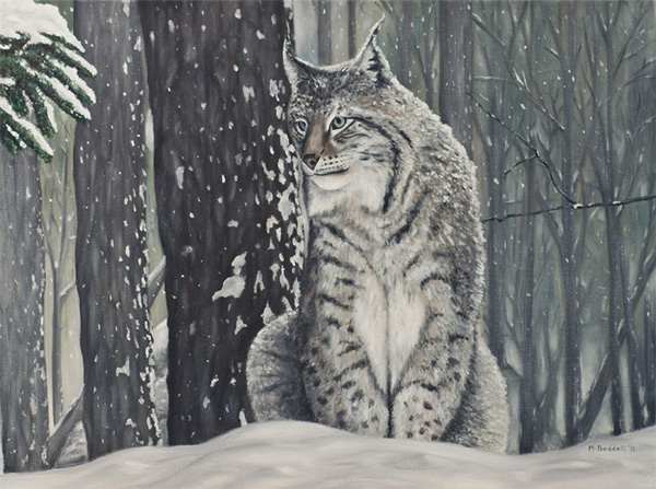 lynx forest winter painting