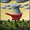 red bird rain cloud surrealism