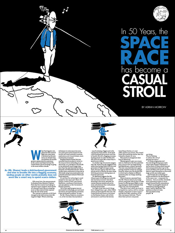 space race layout for TIME magazine