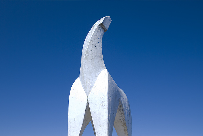 hiking jinba mountain white horse statue